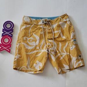 J CREW yellow and creme board shorts